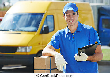 Delivery man with parcel box - Smiling young male postal ...