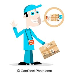 Delivery Man with Parcel. Vector.