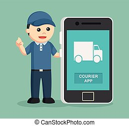 delivery man with smartphone