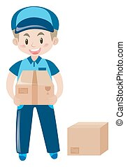 Delivery man with two cardboard boxes