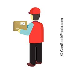 Delivery Man Worker Holds Package in his Hands - Delivery...