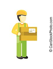 Delivery man Worker holds package in his hands. - Delivery...