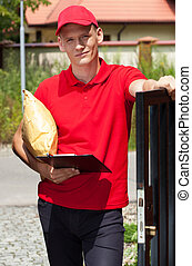 Delivery man working outdoors
