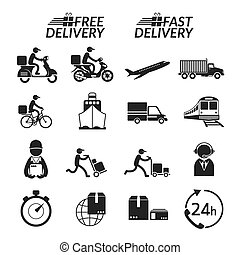 Delivery Monochrome Icons Set - Shipping, Transport, Order,...