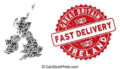 Delivery Mosaic Great Britain and Ireland Map with Grunge Fast Delivery Seal