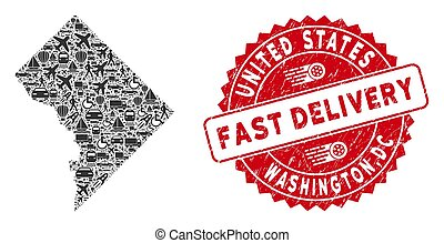 Delivery Mosaic Washington DC Map with Scratched Fast Delivery Stamp Seal