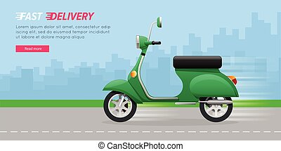 Delivery Motorcycle on City Road. Green Vehicle. - Fast...
