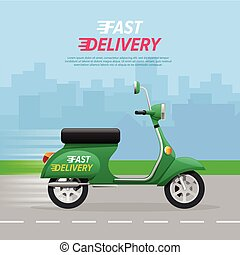 Delivery Motorcycle on City Road. Green Vehicle.