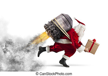 Delivery of Christmas gifts - Santa Claus with gift box...