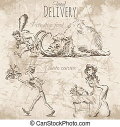 Delivery of different food - People in a hurry to deliver...