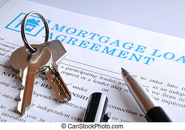 Delivery of the mortgage contract and keys closeup