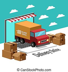 Delivery Online Concept Truck And Laptop Background Vector Image