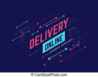 Delivery online design background with arrows. Vector illustration