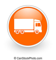 delivery orange circle glossy web icon on white background