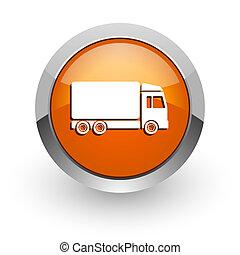 delivery orange glossy web icon