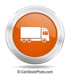 delivery orange icon, metallic design internet button, web and mobile app illustration