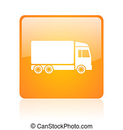 delivery orange square glossy web icon