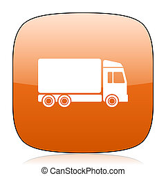 delivery orange square web design glossy icon