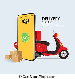 Delivery package success sent to home. order by phone online. Vector illustration