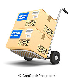 Delivery packages on a cart isolated on white background