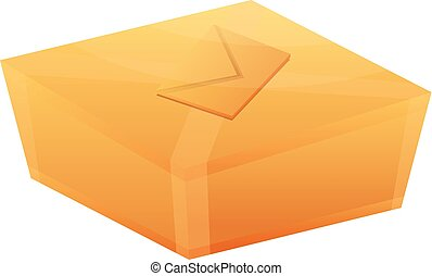 Delivery parcel box icon, cartoon style