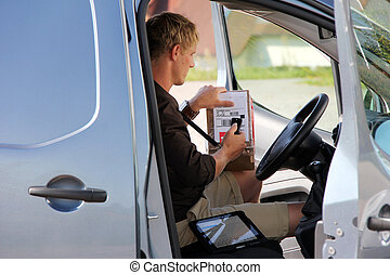 Delivery - Parcel delivery with parcel label barcode ...
