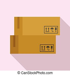 Delivery parcel icon, flat style