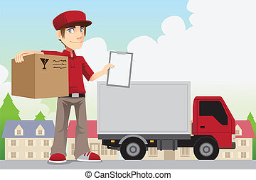 Delivery person - A vector illustration of a delivery person...