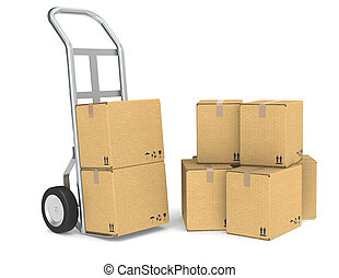 Delivery - Hand truck with a Pile of cardboard boxes. Part...