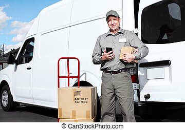 Delivery postal service man. - Happy professional shipping ...