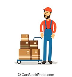 Delivery postman delivering parcels on a trolley, courier in uniform at work cartoon character vector Illustration