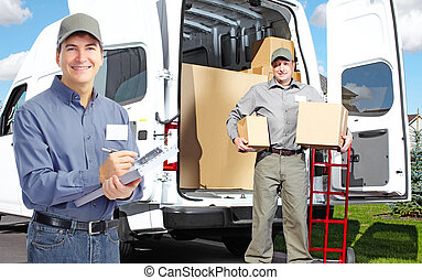 Delivery postman. - Group of professional post workers. ...
