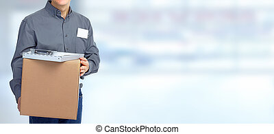 Delivery postman with a box.