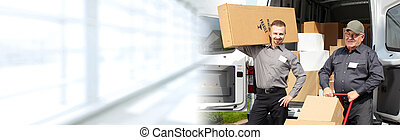 Delivery postman with a box