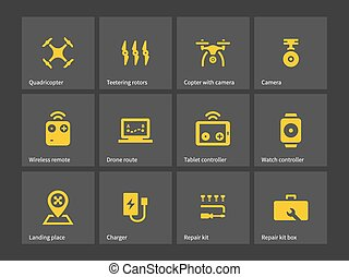Delivery quadcopter drone icons.