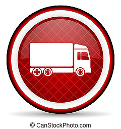 delivery red glossy icon on white background