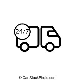 Delivery round the clock outline icon. Symbol, logo illustration for mobile concept and web design.