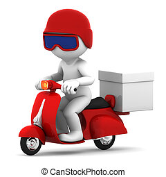 Delivery scooter with big white box. Isolated on white