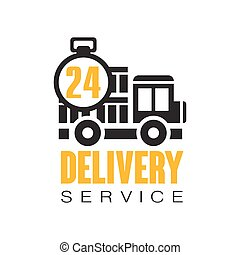 Delivery service 24 hours logo design template, vector Illustration on a white background