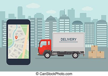 Cargo delivery truck with platform on city street  shipping