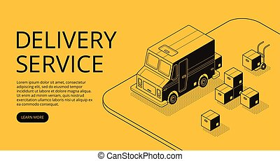 Delivery service app vector isometric illustration