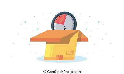 delivery service box and chronometer animation ,4k video animated