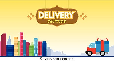 delivery service box car with city background