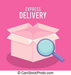 delivery service box with magnifying glass