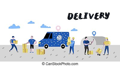 Delivery Service, Cargo Industry Poster, Banner. Courier...