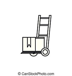 delivery service cart with box