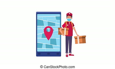 delivery service courier and smartphone animation ,4k video ...