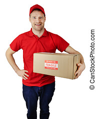 delivery service courier in red uniform with fragile shipment box isolated on white