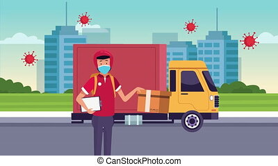 delivery service courier in truck animation ,4k video ...