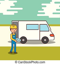 delivery service courier man holding an envelope and a van truck